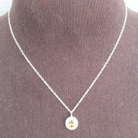 Amber Stone Pendant with CZ Diamonds on 16 Inch Silver Choker Necklace  Signed OW, Precious Metal Ladies Jewelry, Free Shipping and Gift Box