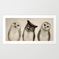 The Owl's 3 Art Print by Isaiah K. Stephens