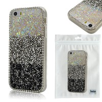 iPhone 5S Case, Seedan Shiny Bling Glitter Sparkle With Crystal Rhinestone Cover Case for iPhone 5 5S, Black White