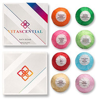 Bath Bombs Gift Sets by Vitascential - Natural Fizzies / Spa Balls with Essential Oils, Sea Salts, Shea & Cocoa Butter - Lush Ideas for Her / Gifts for Women - Best Relaxation Beauty Products (8 pack)
