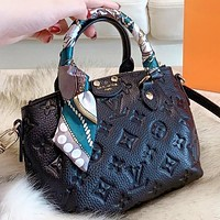 Hipgirls LV Louis vuitton New fashion monogram leather shopping leisure handbag shoulder bag crossbody bag two piece suit Black