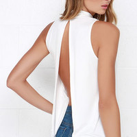 Open-Ended Ivory Backless Top