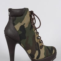 Anne Michelle Camouflage Military Lace Up Lug Sole Platform Heeled Booties