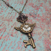 Steampunk skeleton key with clock face & hands gears wings bee; vintage key pendant vintage jewelry by The Urban Disciple steampunk necklace