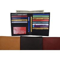 Mens Genuine Leather Bifold Wallet Slim Hipster Cowhide Credit Card and ID 2502 CF