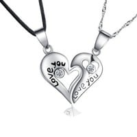 Couples 925 Sterling Silver Pair Engraved Love You Pendant Necklace Jewelry