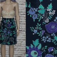 90s High Waist Shorts Floral Ethnic Print Navy Blue Grunge Hipster Boho Festival Hippie X Large 12 Waisted Easy Skirt 80s Plus Size