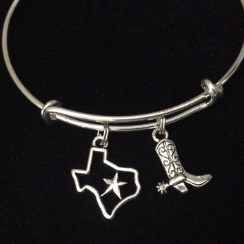 State of Texas with Star and Cowboy Boot Silver Charm on Silver Expandable Adjustable Wire Bangle Bracelet Stacking Handmade Trendy Gift