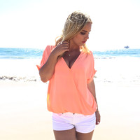 Branson Wrap Blouse In Neon Coral