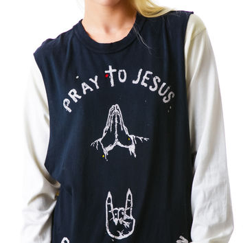 Unif Pray Party Tee Faded Black