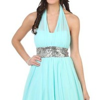 illusion halter party dress with sequin glitter empire waist - debshops.com