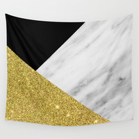 Marble & Gold Geometry Wall Tapestry by Cafelab