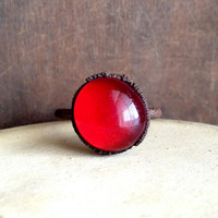 Blood Red Orb Ring - Glass Orb - Size 8.5