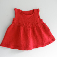 Red Crochet Baby Toddler Dress Vintage Children Clothing Gently Used New Orleans Baby Knit Baby One Piece