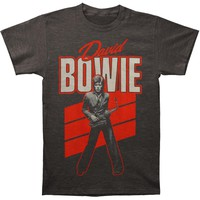 David Bowie Men's  Red Sax T-shirt Grey
