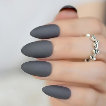 Fashion Smoky Gray Matte Stiletto Fake Nails Soft Good Feel Almond Pointed Press on Oval Frosted Full Cover False Nail Art Tips