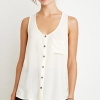 Crinkled Button-Down Pocket Tank