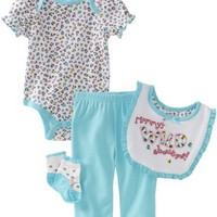 Vitamins Baby-girls Newborn Mommy's Wild About Me 4 Piece Creeper Pant Set, Turquoise, 3 Months