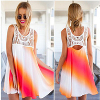 2016 Trending Fashion Summer Women Floral Printed Lace Floral Printed One Piece Dress _ 7428