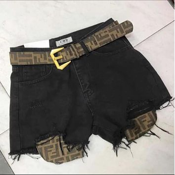 FENDI New Trending Woman Stylish FF Letter Print Black Cowboy Denim Shorts+Belt I13701-1