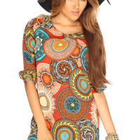 Rust Quarter Sleeve Cute Summer Paisley Print Dress
