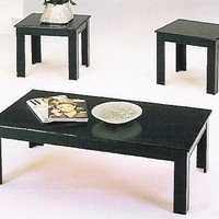 3 pc black finish parquet wood coffee table set