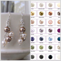 Silver and pearl dangle earrings Custom pearl color earrings Customize your gift for her Two tone dangles Fashion Women and Teen earrings