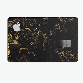 Black & Gold Marble Swirl V6 - Premium Protective Decal Skin-Kit for the Apple Credit Card