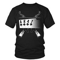 AK-47 T-Shirt - Playing cards with AK47 Background