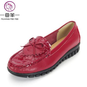 Women Shoes New Arrive Genuine Leather Bow Flat Shoes Woman Casual Work Shoes Soft Sole Moccasins Women Flats