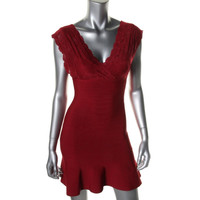 Guess Womens Ponte Cap Sleeves Cocktail Dress