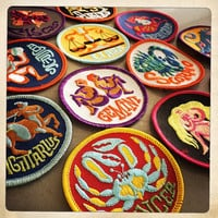 Vintage 60s 70s TRIPPY Round Embroidered ZODIAC Astrology Patches Authentic Mid Century MOD Hippy Hippie Boho