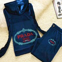 PRADA Hoodie Zipper Coat Trousers Set Two-Piece Sportswear Dark blue
