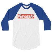 """SavageAF"" Unisex (Men/Women) 3/4 Sleeve Baseball Shirt"