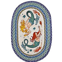 Fin Friends Mermaid Oval Braided Rug