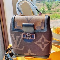 LV New fashion monogram print leather book bag backpack bag shoulder bag crossbody bag handbag