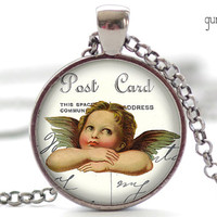 Cherub Necklace, Valentines Day Pendant, Vintage Valentines Jewelry, Your Choice of Finish (1354)