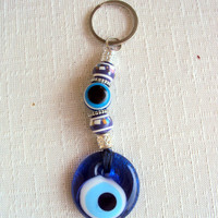 Keychain with Nazar and Luck Bead Gift Ideas Blue Glass Turkish Evil Eye Keychain