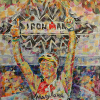 Ironman Triathlon Gift. Custom painting makes great memento for your Triathlete. 8x10 inches