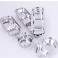 SUS 304 Stainless Steel Pepper Roast Meat Sauce Dishes bowl Separate Sushi Vinegar Soy Plates Tableware Food Seasoning Tray