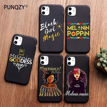 Afro Black Girl Magic Queen Melanin Poppin Phone Case For iPhone 11 PRO MAX XS MAX XR X 5 5S 6 6S 8 7 Plus TPU Silicone Cover|Half-wrapped Cases