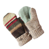 SWEATY MITTS Wool Mittens Upcycled Women's Recycled Sweater Handmade in Wisconsin Earthy Brown Green Red Stripe Fleece Lined Woodsy Rustic