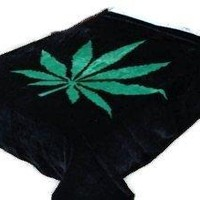 Opium Leaf Blanket,75 by 90 Inches, Marijuana Leaf Throw, Korean Mink , Pot-leaf, Warm, RV, Traveling, Camping ,Hiking,cabin, TV,Sleigh , Bunk , Bed, Sofa and Couch Bed-cover