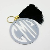 Acrylic  Monogram Keychain With Tassel