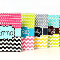 Personalized or Monogrammed Notebook Covers -  Chevron and Dots - Gift for tweens and teens - Back to school - You choose fabric and fonts