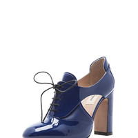 Patent Tied Overlap Lace Up T.100 in Blue China