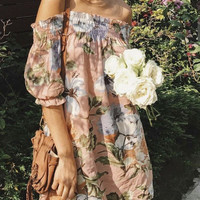 Fashion Boho Flower Print Off Shoulder Middle Sleeve Mini Dress