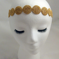 The Rosa - gold lace headband, metallic gold hair wrap, gold boho headband, gold halo headband, bohemian wedding hair, festival hair wrap