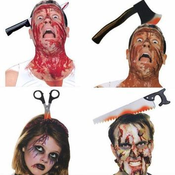 Happy Halloween Party Scary Toys Saw Knife Headwear Fake Blood Headband Props Halloween Decoration Spoof Horrible Props