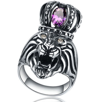 Stainless Steel King Lion W. Purple Cubic Zirconia Ring